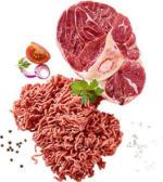 Frisches Rinderhackfleisch oder Rinderbeinscheibe je 100 g