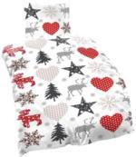 """Biber-Bettwäsche """"Weiß mit weihnachtlichen Motiven"""""""