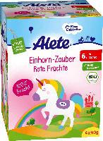 Alete Quetschbeutel Einhorn-Zauber Rote Früchte ab 6. Monat, 4x90g