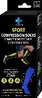 SolvaCare Sportkompressionsstrümpfe blau-schwarz Gr. 43-47