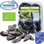 Miesmuscheln Extra aus Aquakultur mit Setzlingen aus einer MSC-zertifizierten, nachhaltigen Fischerei, Nordostatlantik,  jede 1-kg-Schale (Abtropfgewicht)