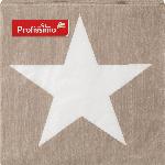 Profissimo Servietten Weihnachten 33x33 Stern groß weiß/taupe